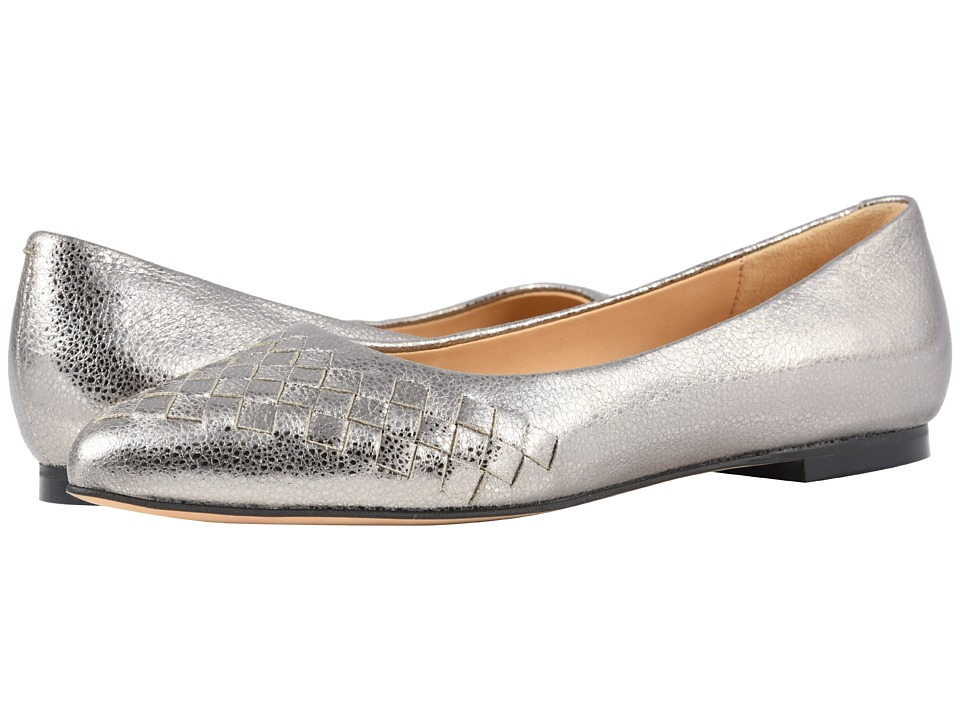 Trotters Estee Woven (Silver Soft Embossed Metallic Leather) Flats