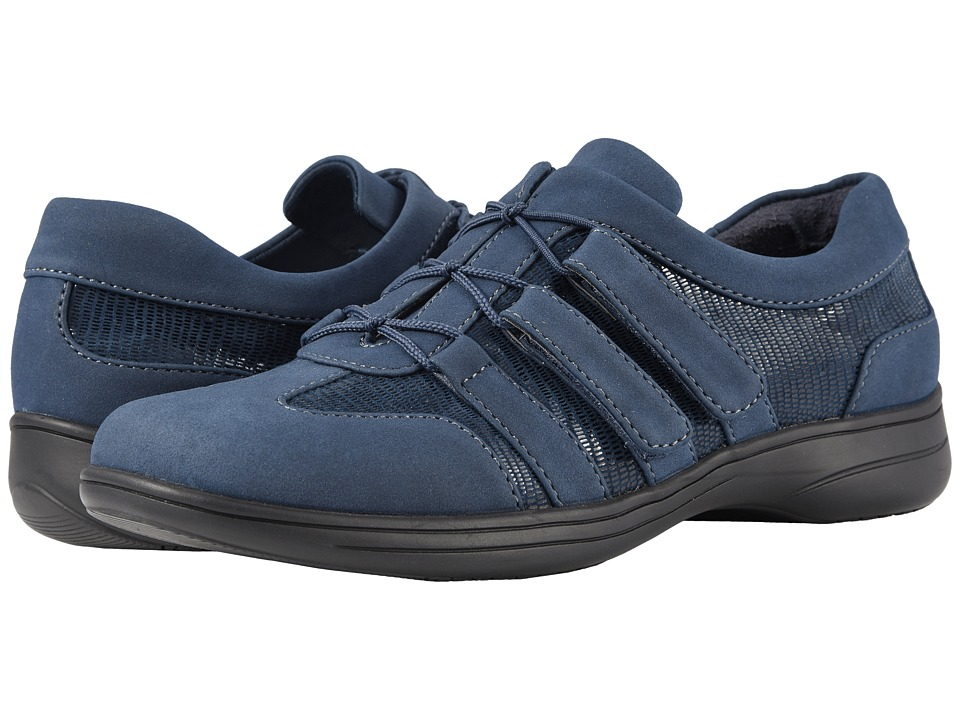 Trotters Joy (Navy Nubuck Textile/Lizard Patent Suede Leather)