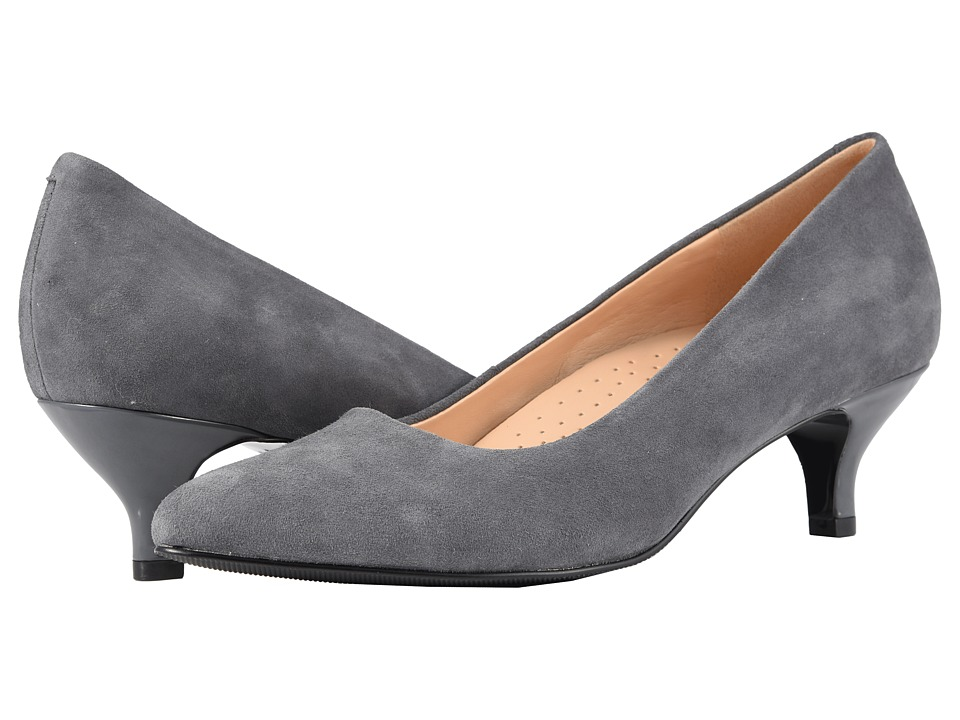 Trotters Kiera (Dark Grey Kid Suede Leather) 1-2 inch heel Shoes