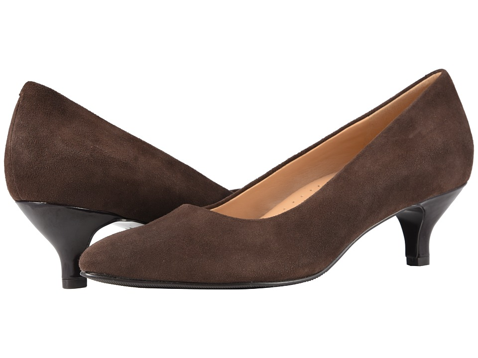 Trotters Kiera (Dark Brown Kid Suede Leather) 1-2 inch heel Shoes