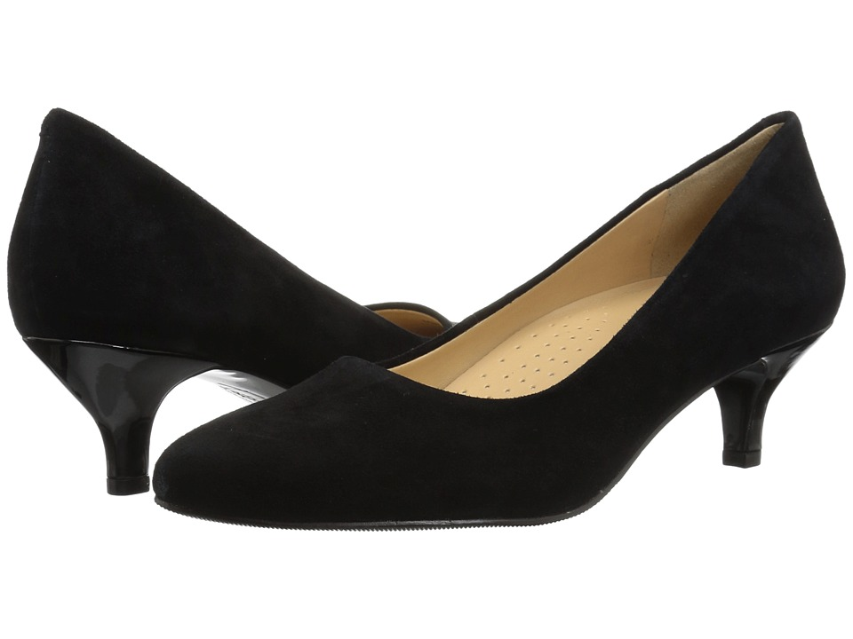 Trotters Kiera (Black Kid Suede Leather) 1-2 inch heel Shoes