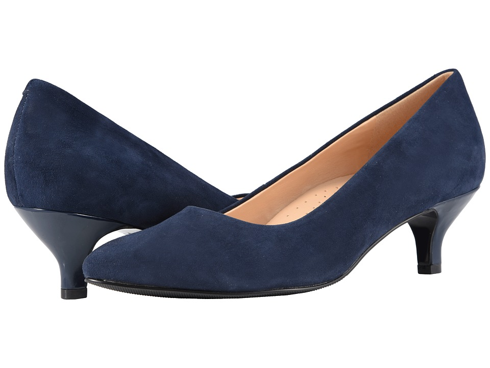 Trotters Kiera (Navy Kid Suede Leather) 1-2 inch heel Shoes