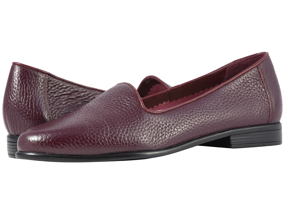 Trotters Liz Tumbled (Burgundy Very Soft Tumbled Leather) Slip-On Shoes