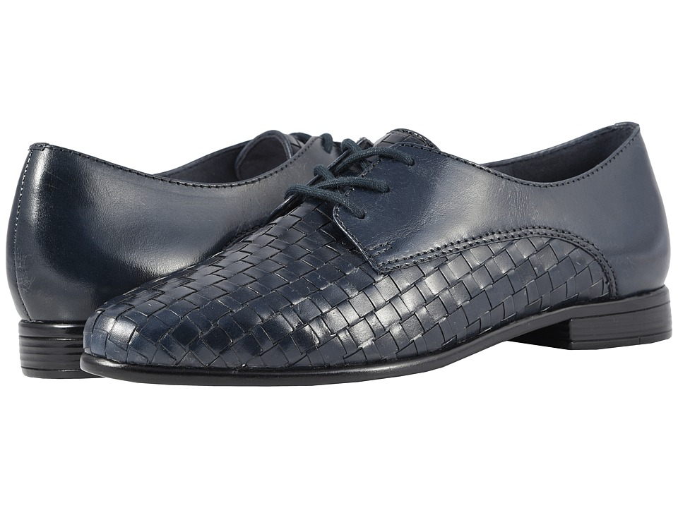 Trotters Lizzie (Navy Woven/Smooth Leather) Slip-On Shoes