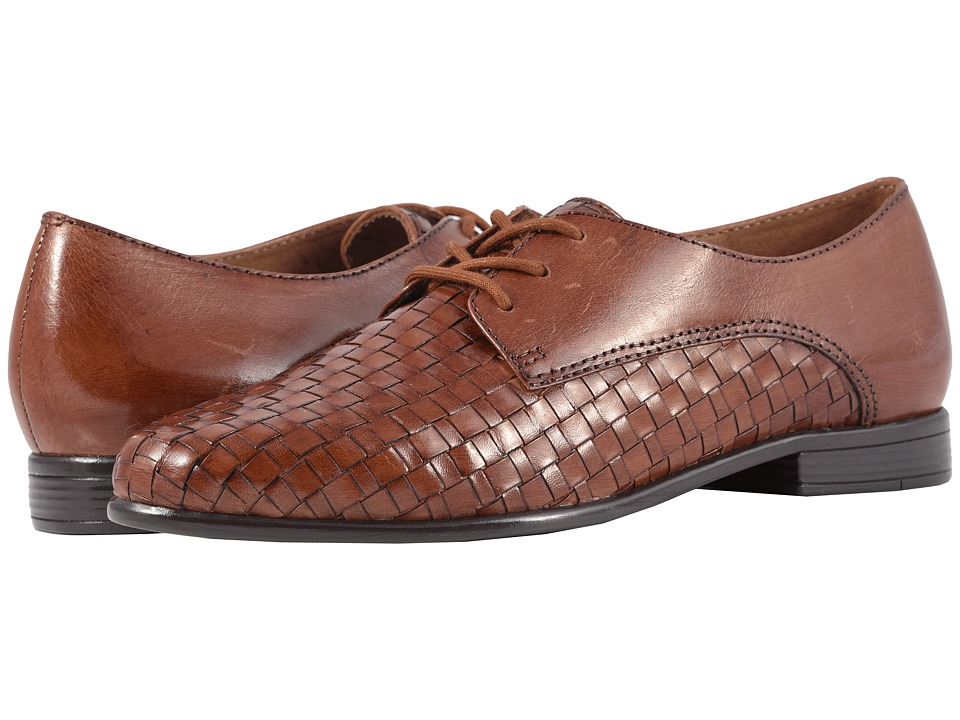 Trotters Lizzie (Cognac Woven/Smooth Leather) Slip-On Shoes