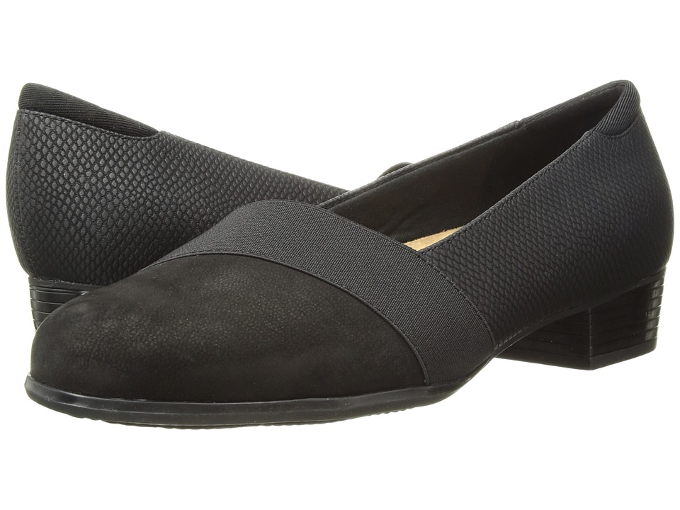 Trotters Melinda (Black Casual Leather/Snake) Women's Shoes