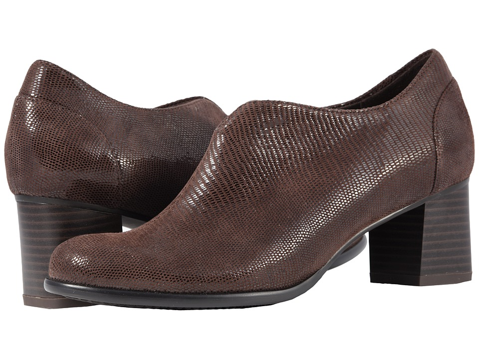 Trotters Qutie (Dark Brown Soft Lizard Embossed Patent Suede) Women's Shoes
