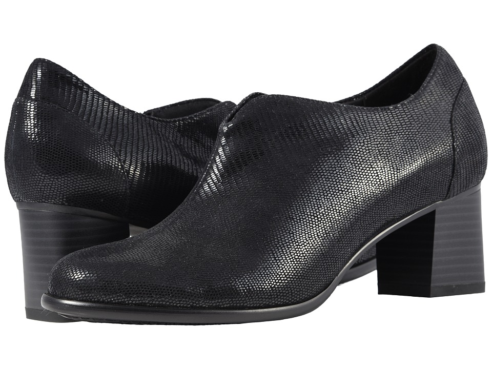 Trotters Qutie (Black Soft Lizard Embossed Patent Suede) Women's Shoes