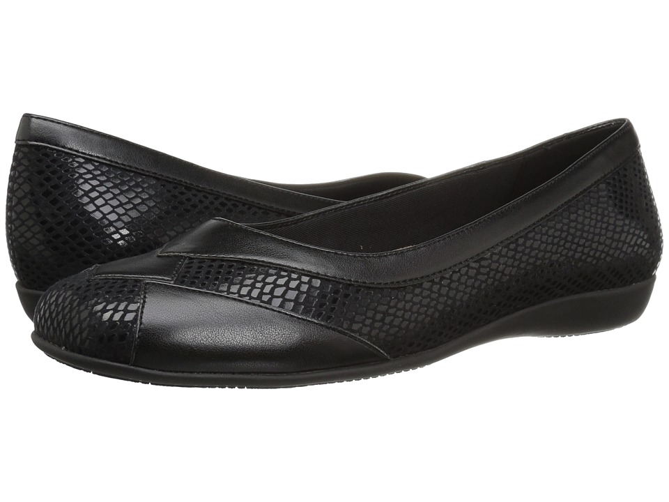 Trotters Sharp (Black Soft Nappa Leather/Embossed Snake) Slip-On Shoes
