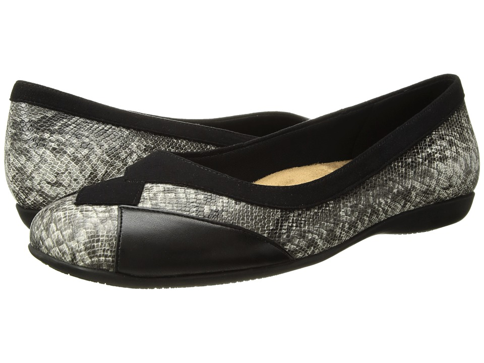 Trotters Sharp (Black Kid Suede/Black/White Embossed Snake/Black Soft Nappa Leat) Slip-On Shoes