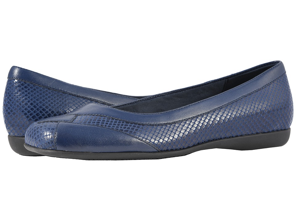 Trotters Sharp (Navy Soft Leather/Embossed Snake) Slip-On Shoes