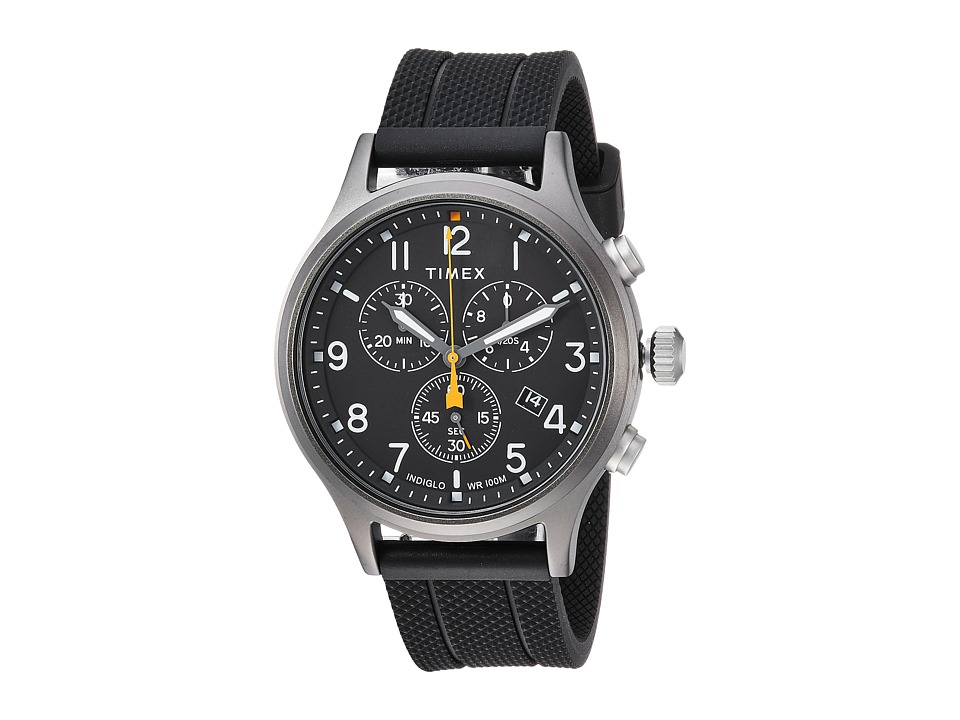 Timex - Allied Chrono Silicone (Black/Black) Watches
