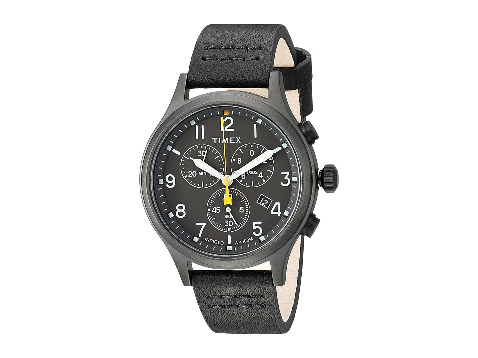 Timex - Allied Chrono Leather (Black/Black) Watches