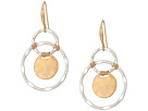 Robert Lee Morris Silver Plated Orbitals with Gold Plated Circle Drop and Wire Wrapped Details Earrings