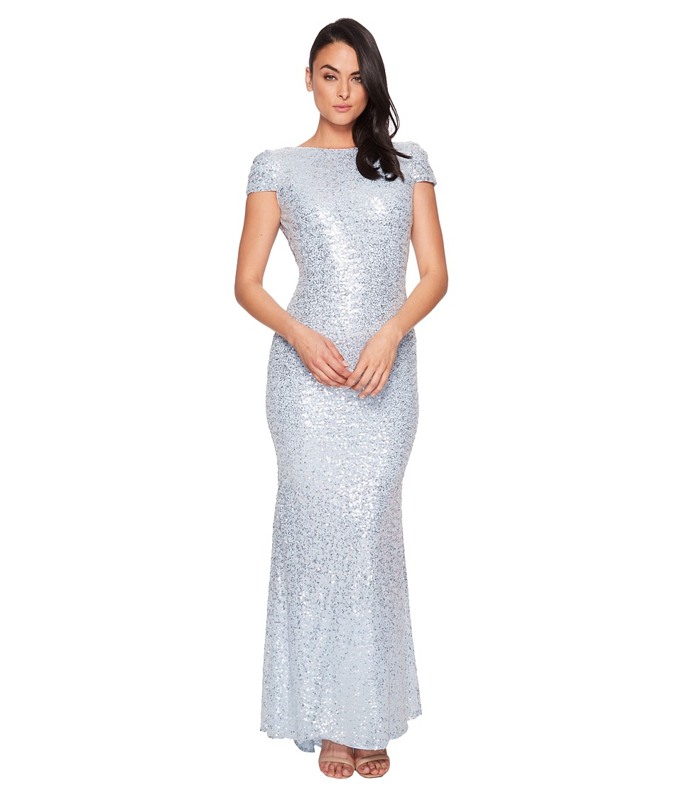 Badgley Mischka - Signature Cowl Back Stretch Sequin Gown (Ice Blue) Womens Dress