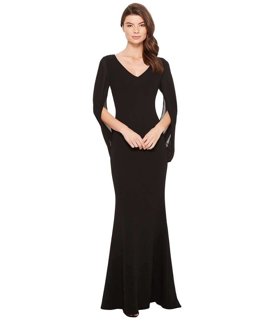 Badgley Mischka - Cape Sleeve Gown w/ V-Neck (Black) Womens Dress