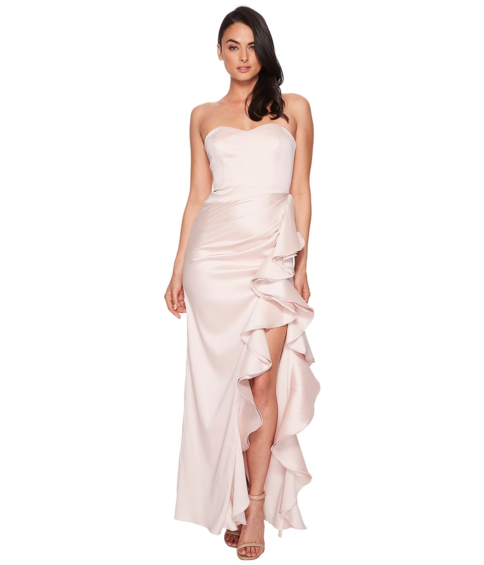 Badgley Mischka - Strapless Twill Ruffle Gown (Blush) Womens Dress