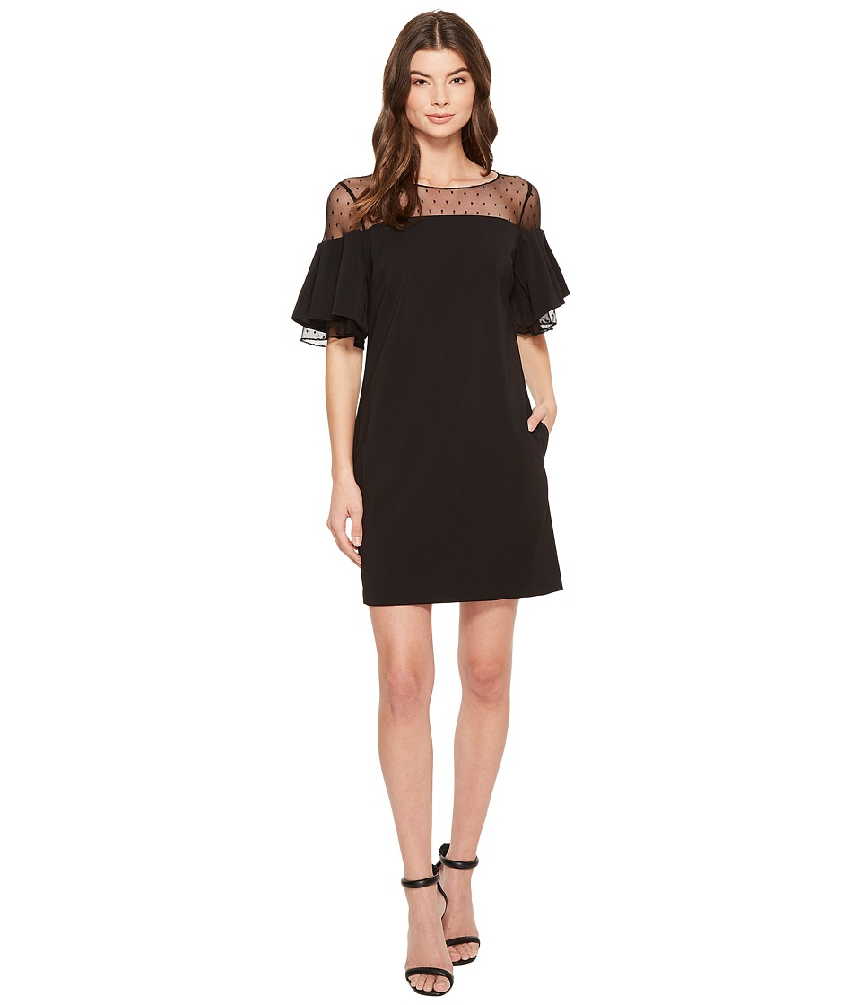 Badgley Mischka - Bell Sleeve Sack Dress w/ Swiss Dot (Black) Womens Dress