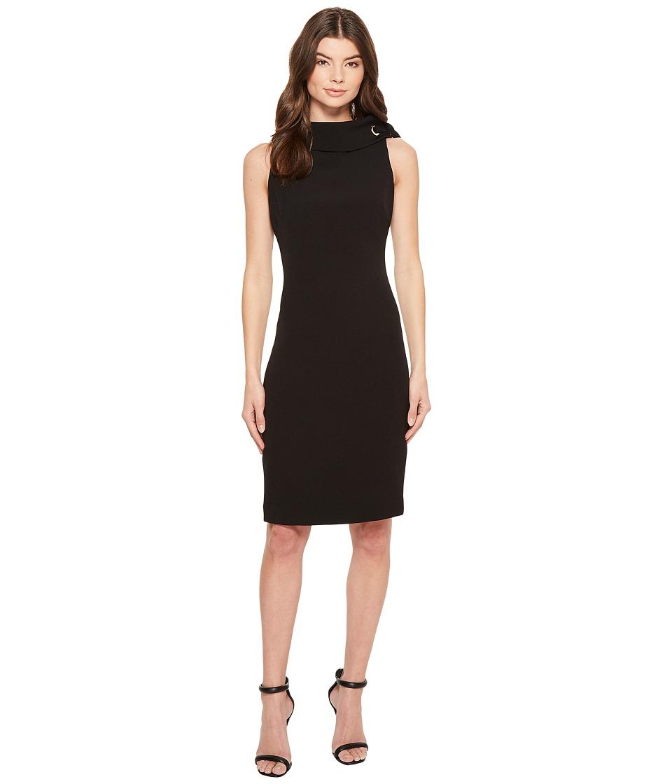 Badgley Mischka - Folded Collar Crepe Dress (Black) Womens Dress