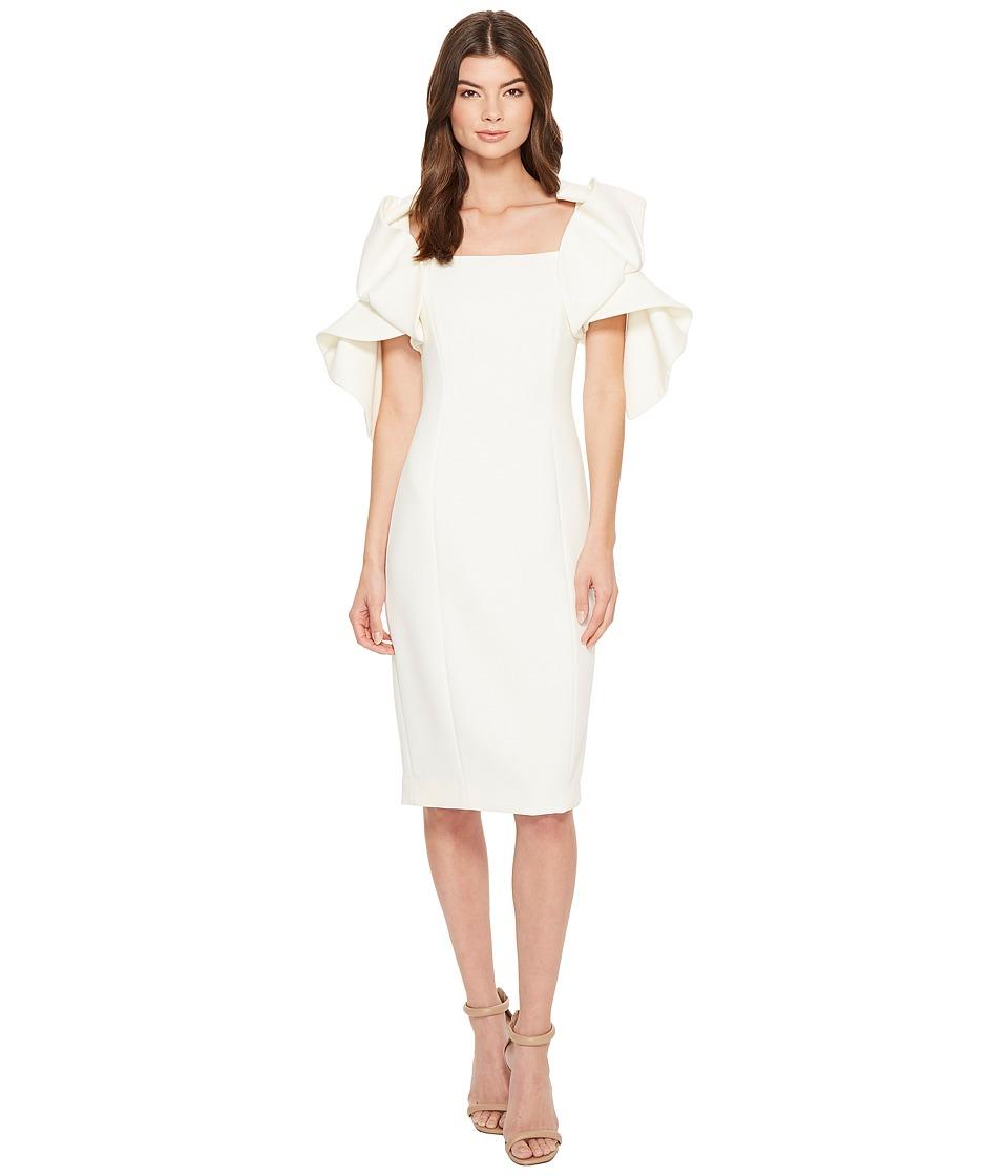 Badgley Mischka - Origami Sleeve Butter Crepe Dress (Ivory) Womens Dress