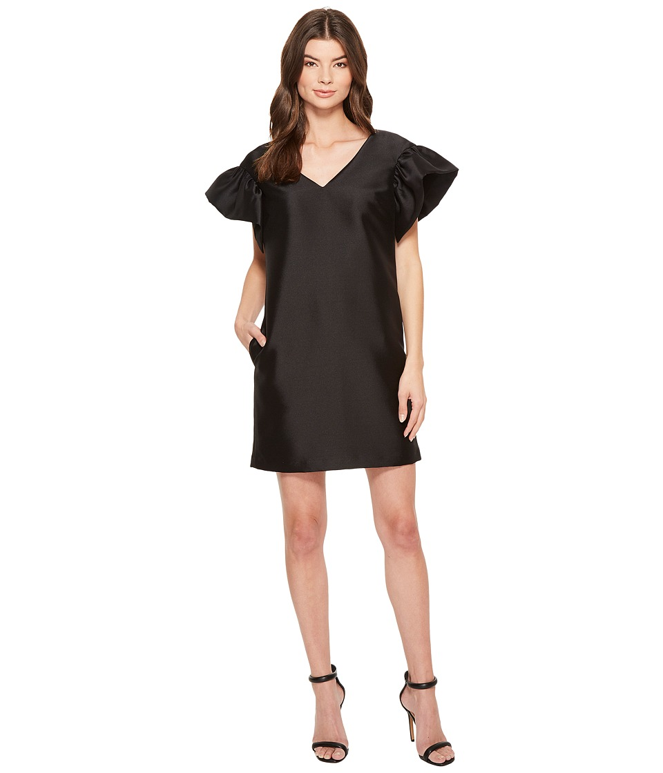 Badgley Mischka - Ruffle Sleeve Twill Sack Dress (Black) Womens Dress