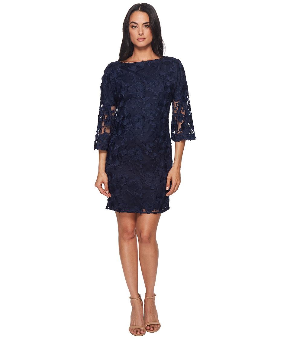Badgley Mischka - Lace Bell Sleeve Dress (Navy) Womens Dress