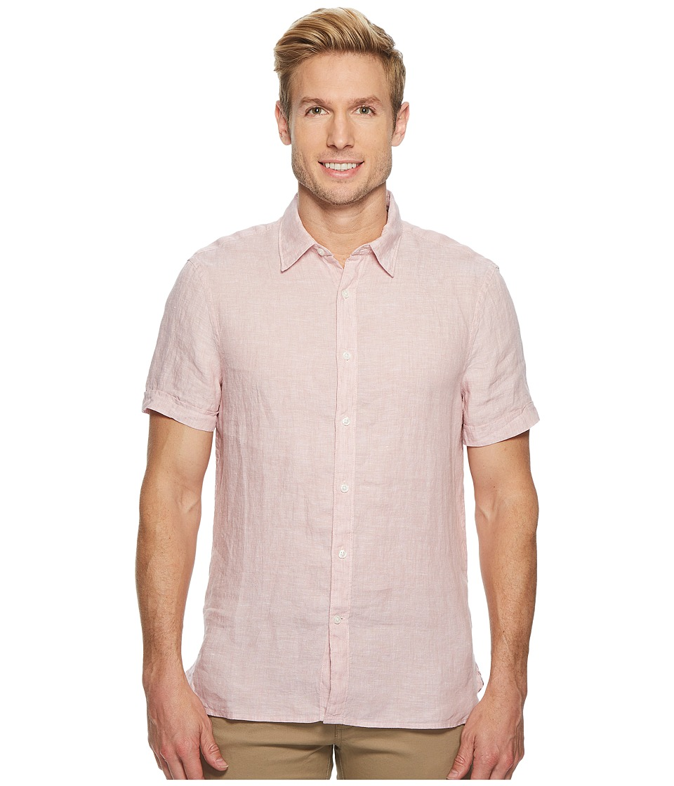 Perry Ellis - Short Sleeve Solid Linen Shirt (Himalayan Pink) Mens Short Sleeve Button Up