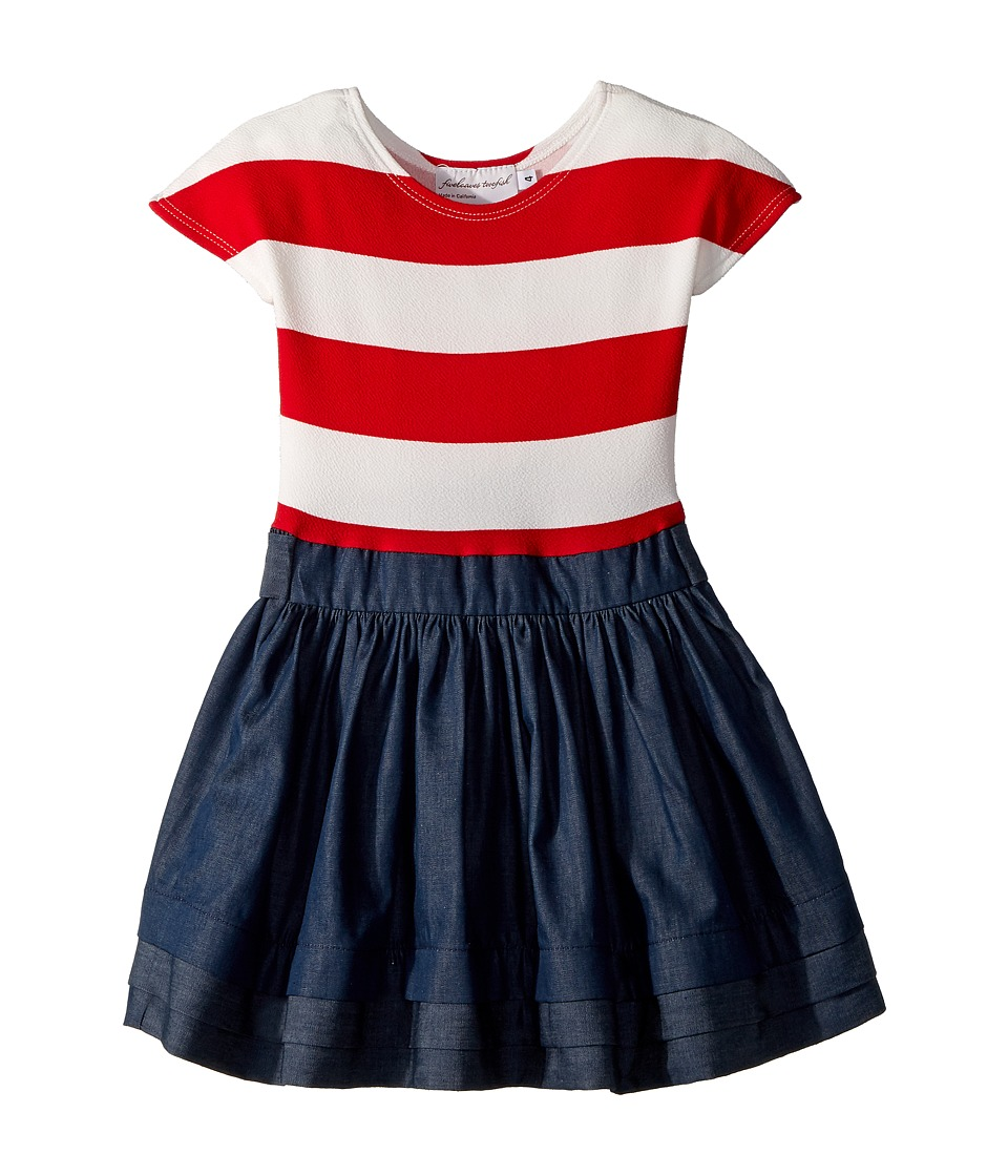 fiveloaves twofish - Stripe Abbie Dress (Little Kids/Big Kids) (Red) Girls Dress