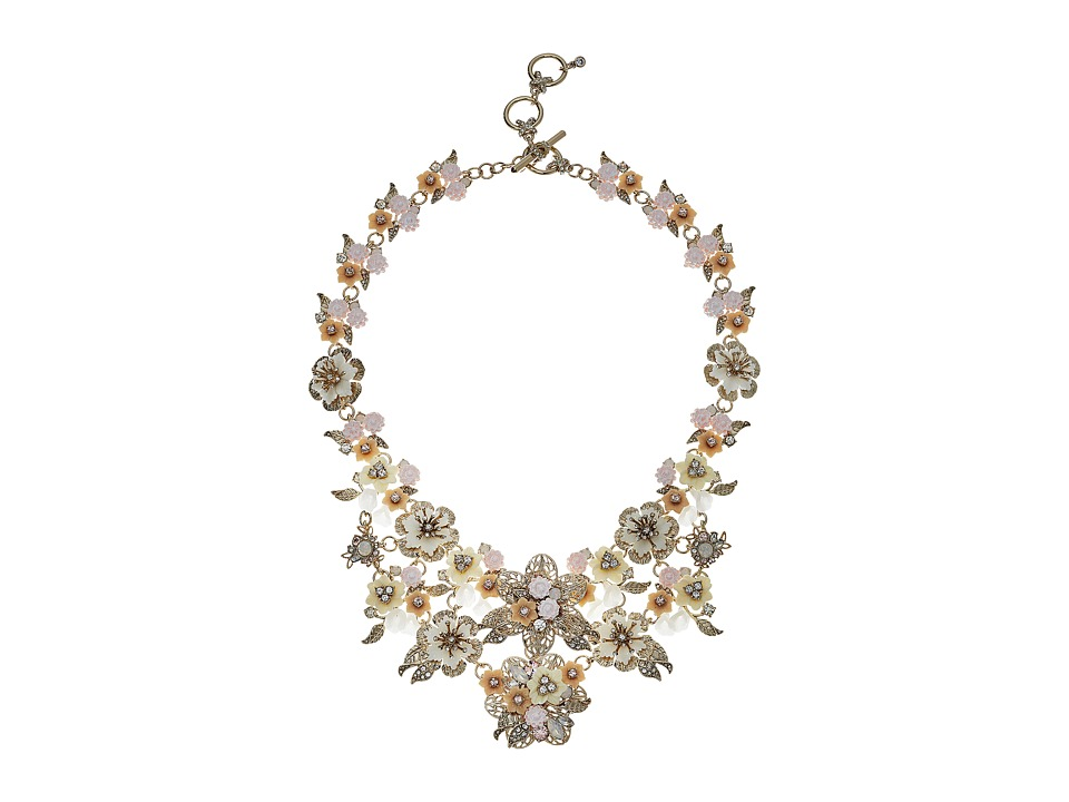 Marchesa - Force of Nature 16 in Flower Drama Runway Collar Necklace (Gold/White) Necklace