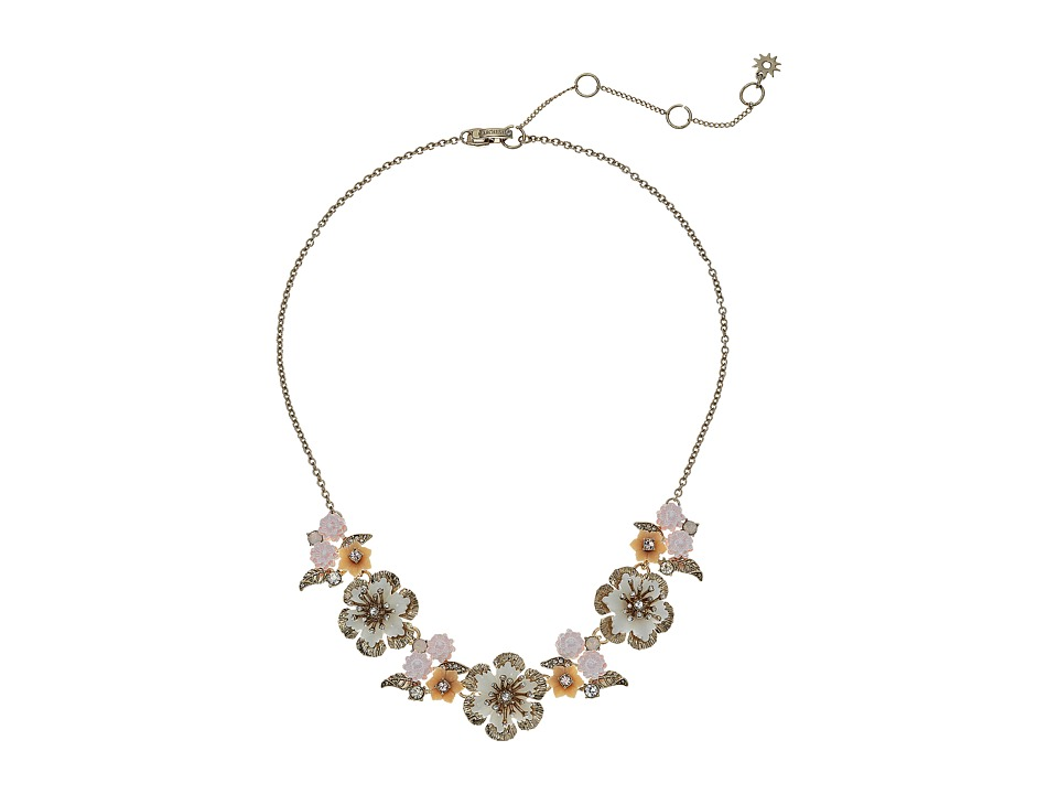 Marchesa - Force of Nature 16 in Front Flower Necklace (Gold/White) Necklace