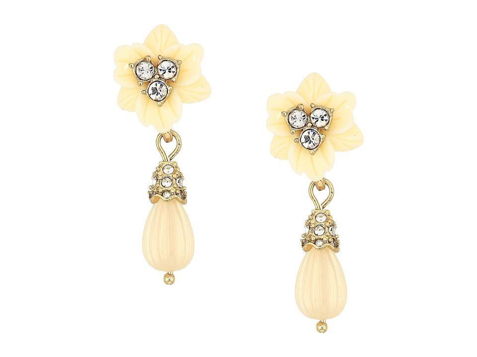 Marchesa - Force of Nature Small Post Drop Earrings (Gold/White) Earring