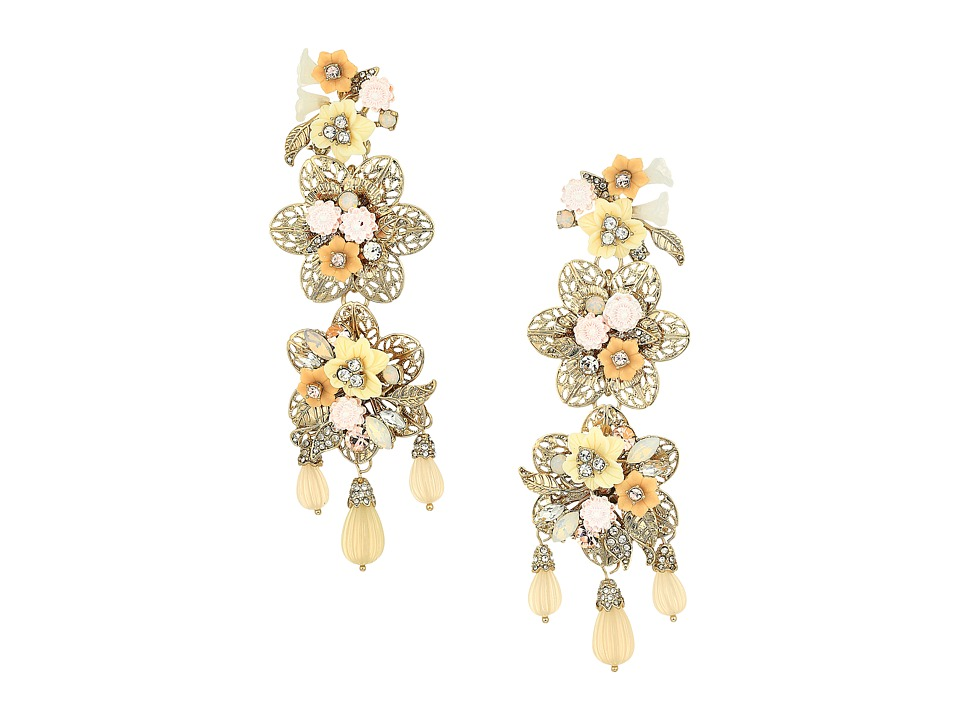 Marchesa - Force of Nature Chandelier Floral Earrings (Gold/White) Earring
