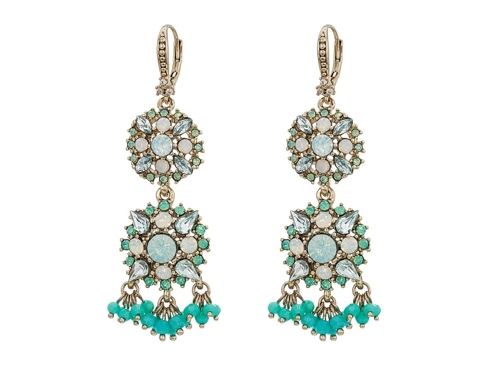 Marchesa - Lighter Than Air Double Drop Earrings (Gold/Turquoise Multi) Earring