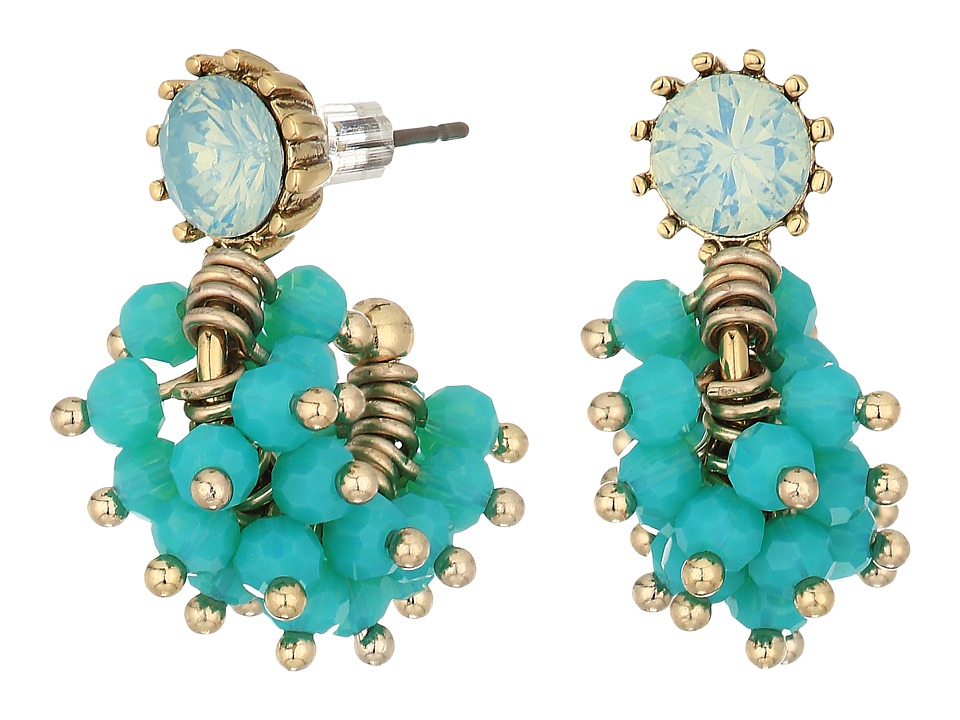 Marchesa - Lighter Than Air Post Hoop Cluster Earrings (Gold/Turquoise Multi) Earring