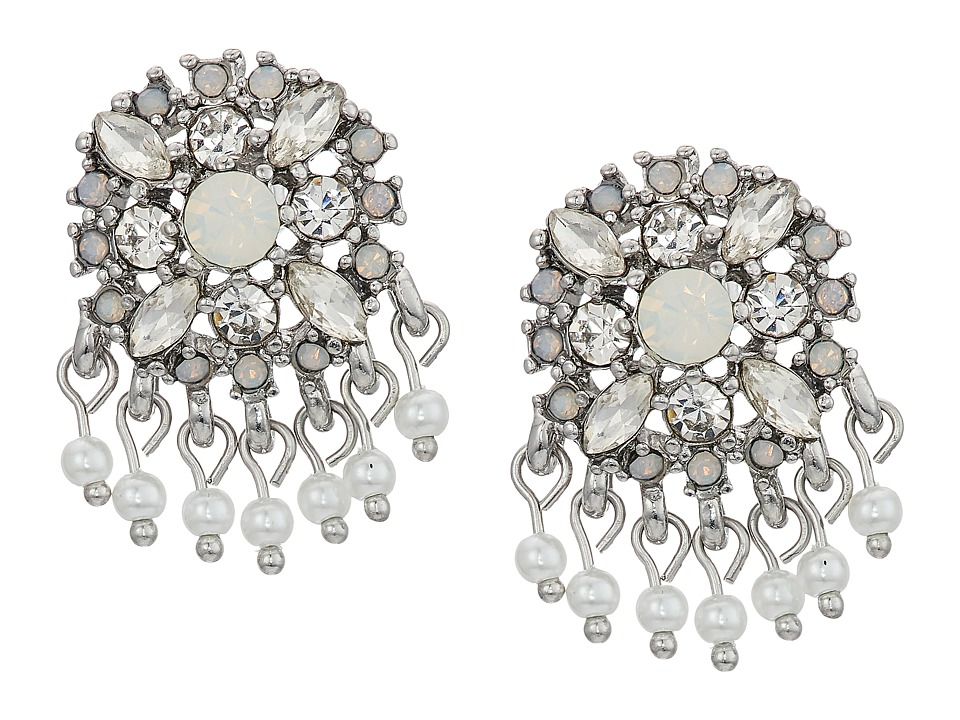 Marchesa - Lighter Than Air Cluster Button Earrings (White Multi) Earring