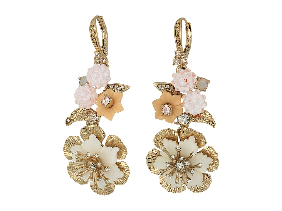 Marchesa - Force of Nature Medium Double Drop Earrings (Gold/White) Earring