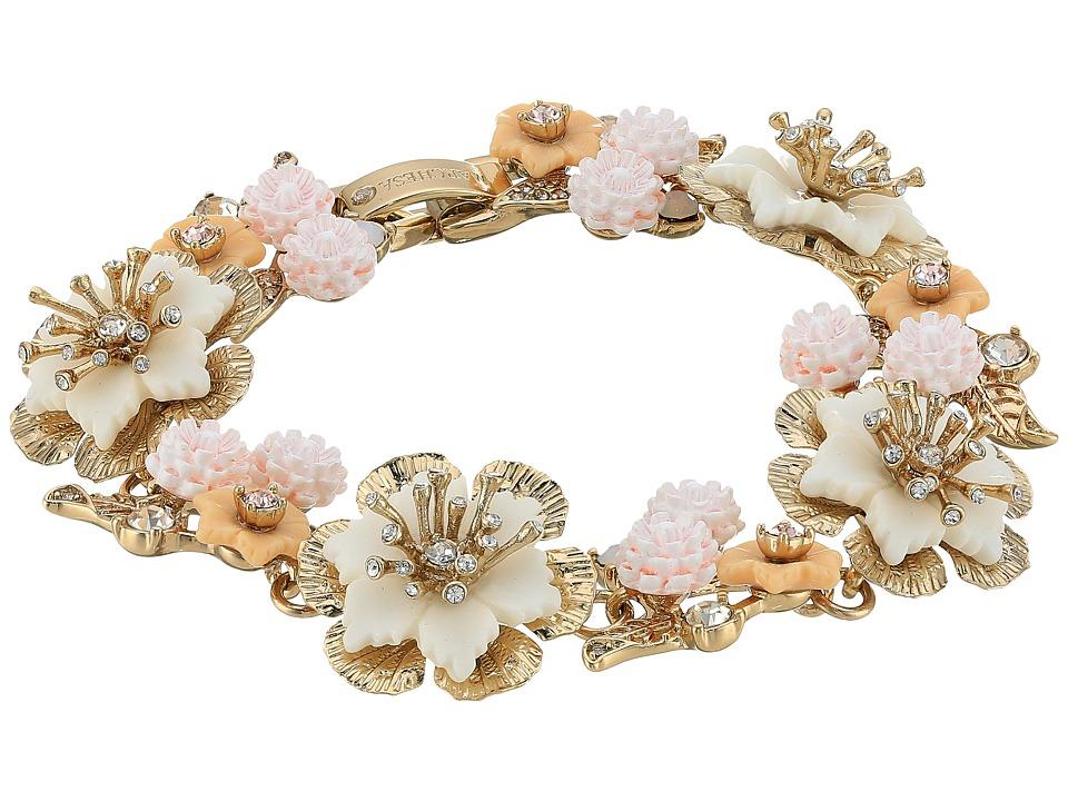 Marchesa - Force of Nature 7.25 Flex Floral Bracelet (Gold/White) Bracelet