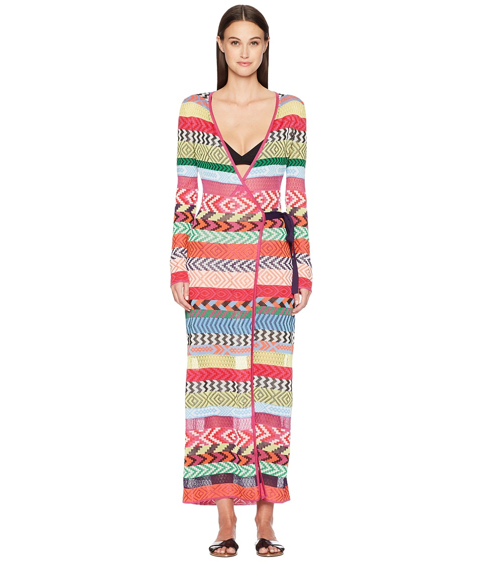 Mary Katrantzou - Oceania Dress Fira Stripe Knit Cover-Up (Multi) Womens Swimwear