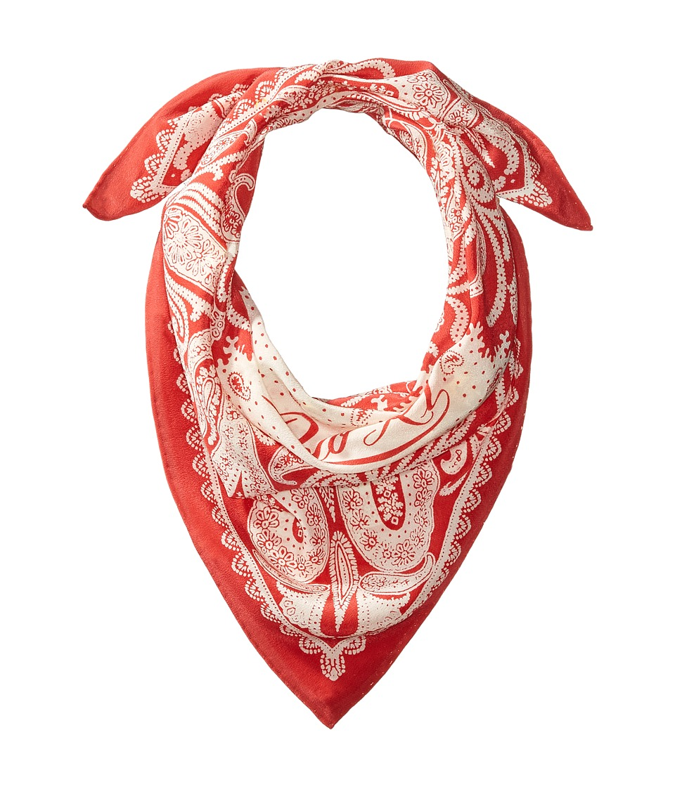 Ralph Lauren Washed Silk Bandana (Sunset Red/Cream) Scarves