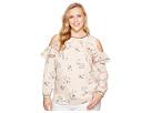 LAUREN Ralph Lauren Plus Size Floral Ruffled Cold-Shoulder Top