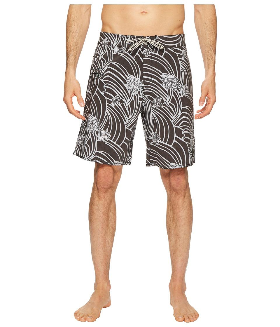 Captain Fin - Swirl Derby Boardshorts (Black) Mens Swimwear