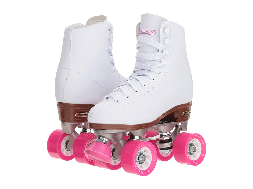 Chicago Skates Classic Rink Skate (White/Pink) Women's Wheeled Shoes