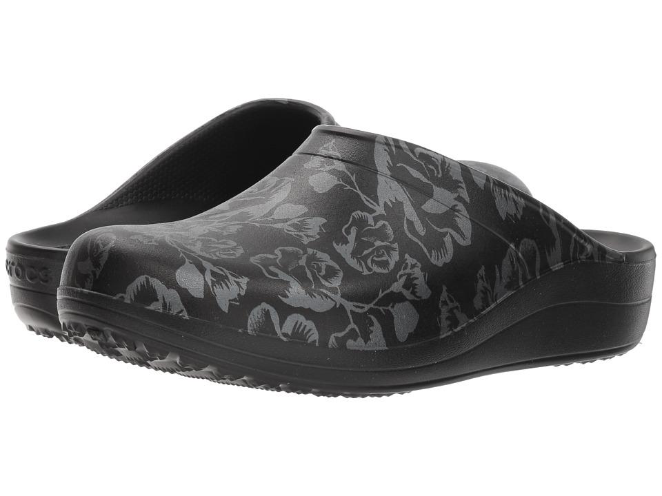 Crocs Sloane Graphic Clog (Metallic Rose/Black) Clogs
