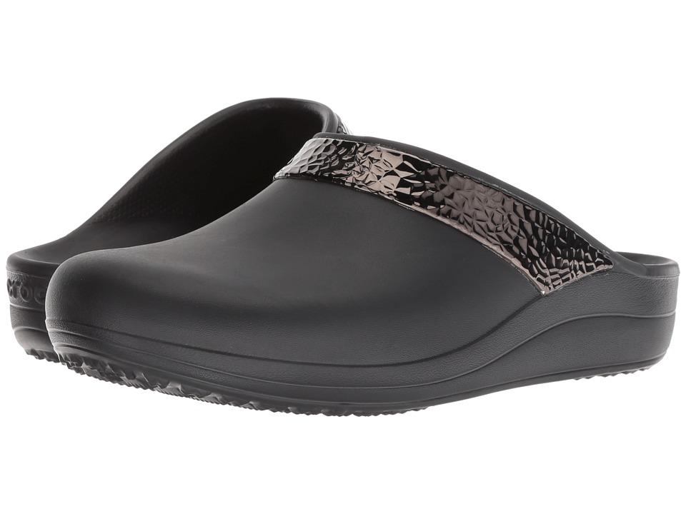 Crocs Sloane Hammered Metallic Clog (Black/Black) Clogs