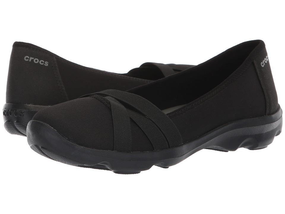 Crocs Busy Day Strappy Flat (Black/Slate Grey) Flats