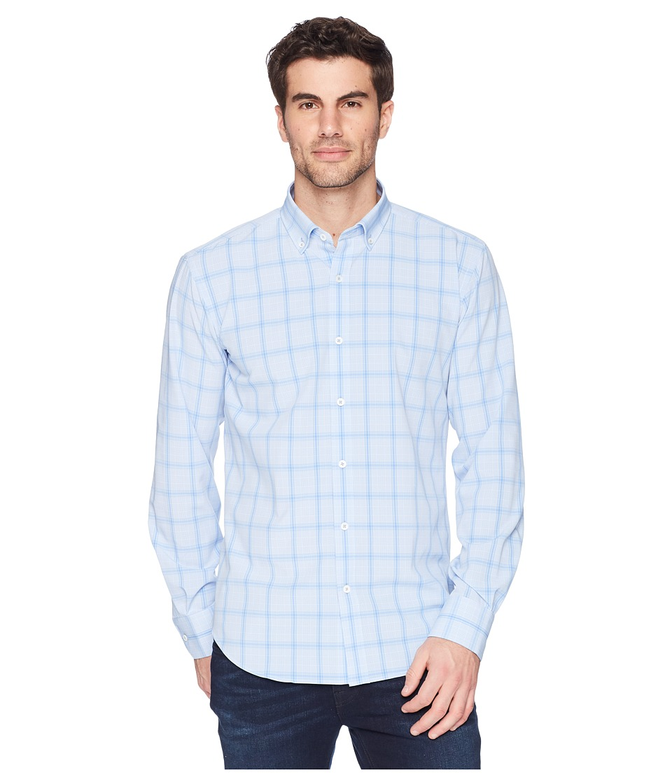 BUGATCHI - Shaped Fit Performance Plaid Woven Shirt (Sky) Mens Long Sleeve Pullover