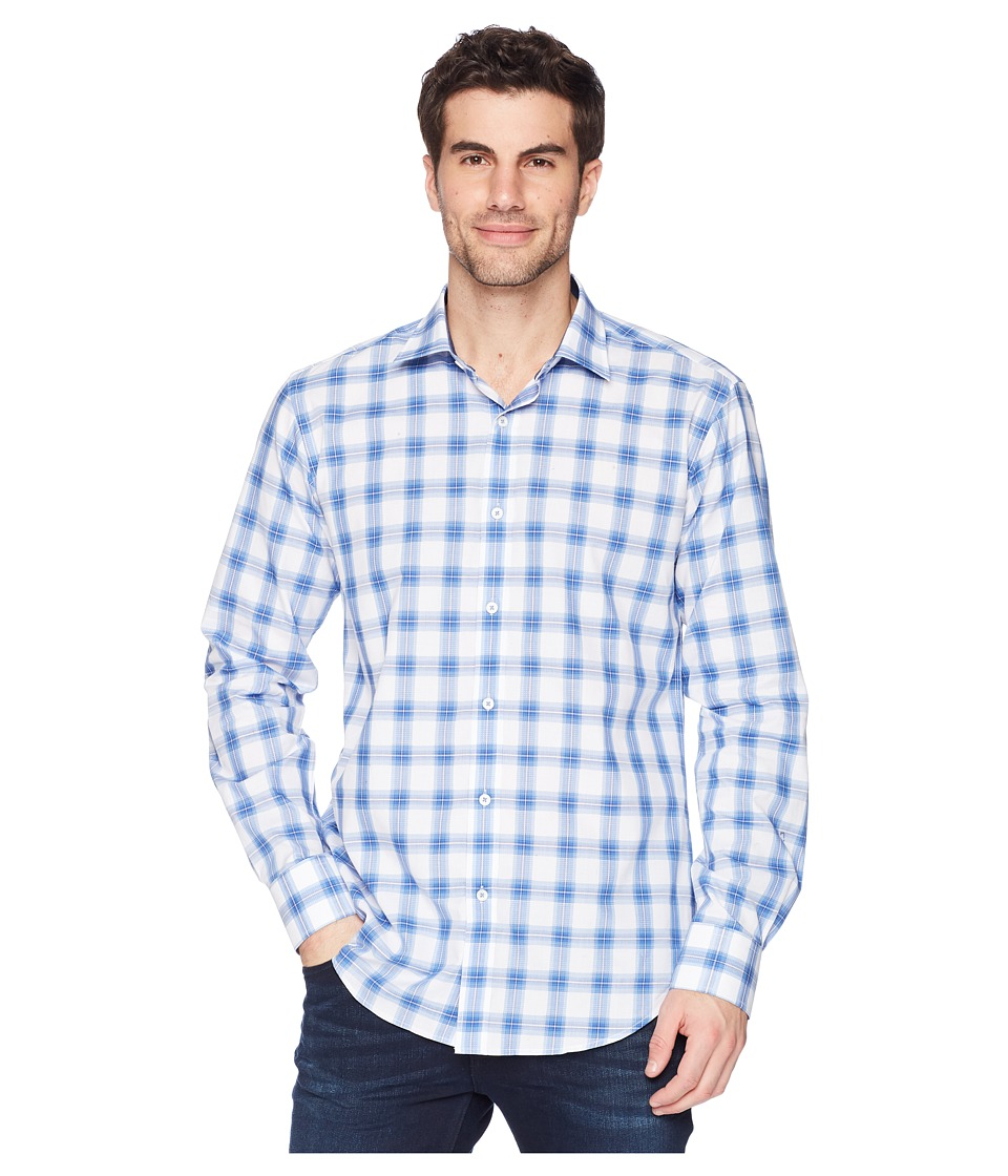 BUGATCHI - Shaped Fit Woven Shirt (Classic Blue 1) Mens Long Sleeve Pullover