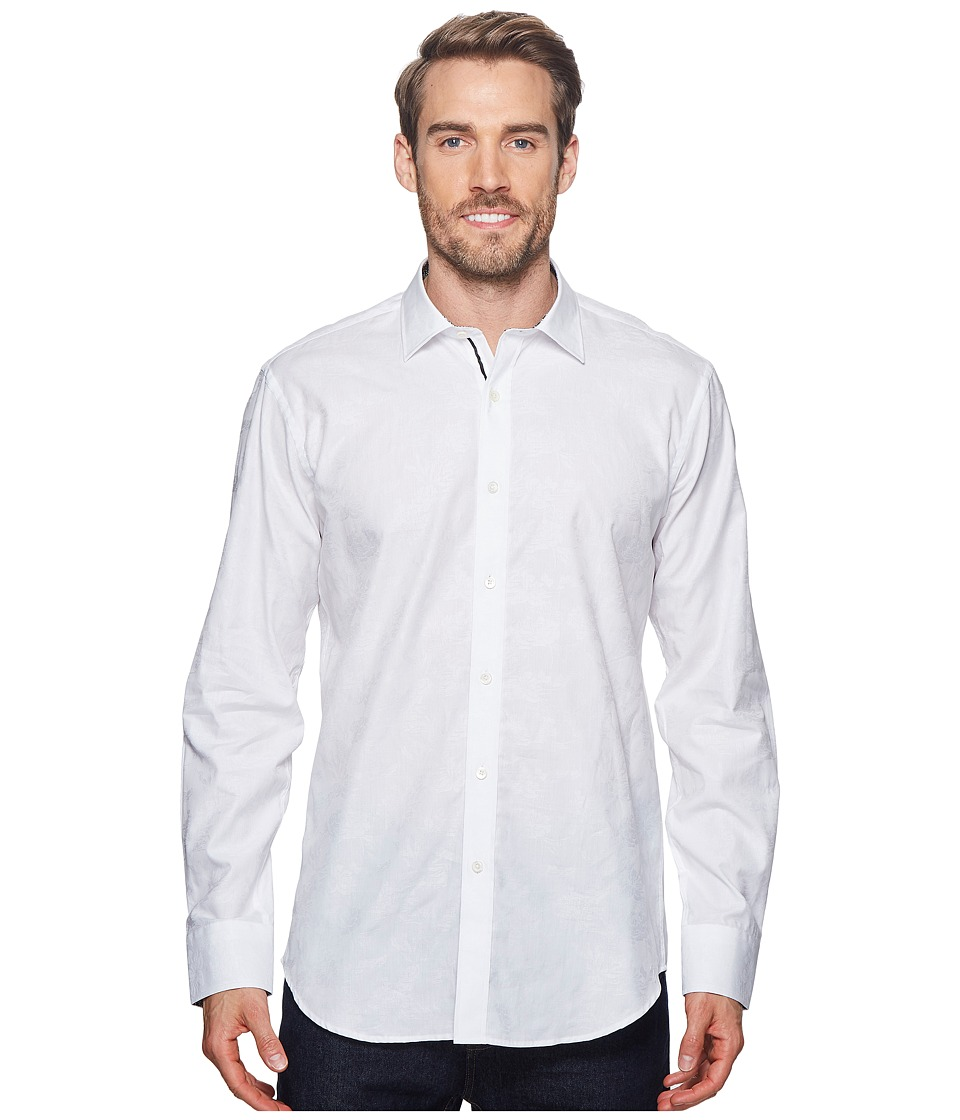 BUGATCHI - Shaped Fit Woven Shirt (White) Mens Long Sleeve Pullover