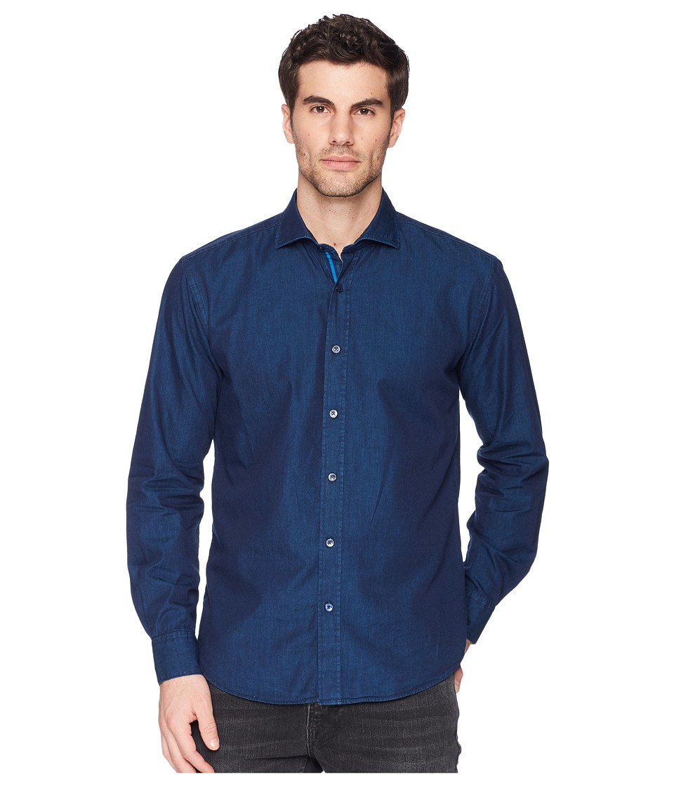BUGATCHI - Shaped Fit Long Sleeve Woven Shirt (Navy) Mens Long Sleeve Button Up