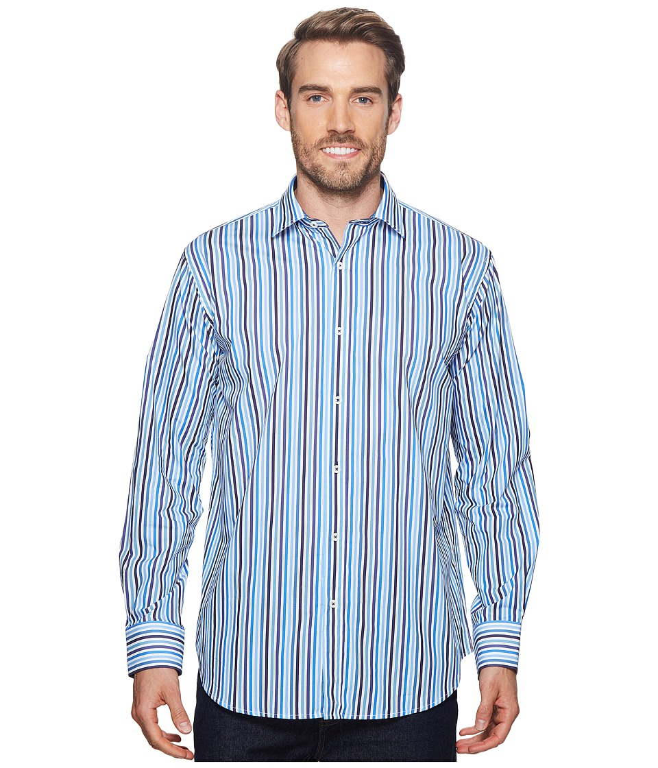 BUGATCHI - Shaped Fit Striped Woven Shirt (Classic Blue) Mens Long Sleeve Pullover